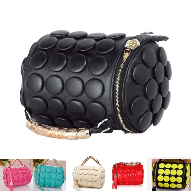 women pu leather handbags Women Bag 2014 Handbag Messenger Bag Button Round Tassel Bag Skull wedding bag(China (Mainland))