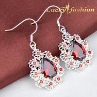 Fashion 2014 New Arrival Hot Selling Crystal Bridal Wedding Earrings Fire Red Zircon Silver Drop Earrings