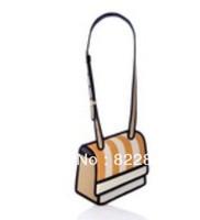 Free shipping Inclined stripe canvas 3 d cartoon students bag, fashion cartoon iphone bag