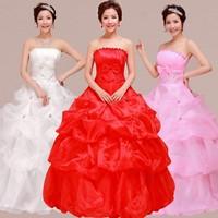 2014 Romantic Fashion Bridal Gown Sweet Princess Wedding Dress Tube Top Vintage Lotus White Lace Up Custom Made Drop Shipping