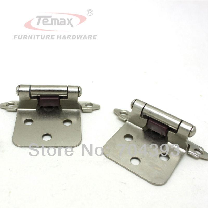 1 Pair Satin Nickel Flush Type Self Close Cabinet Kitchen Furniture Hardware Hinges Gate Door(China (Mainland))