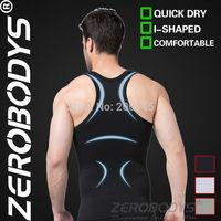 Fast Shipping ZEROBODYS Comfortable Mens Body Shaper Quick Dry I-Shaped Vest 369 BK Hot Shapers Sport Mens Compression Tank 2014