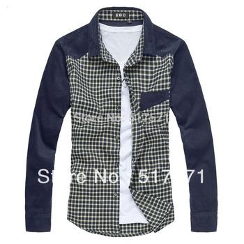 Free shipping new fashion 2013 mens long shirts!men shirt,Slim fit Stylish hot sale mens clothes 3colors