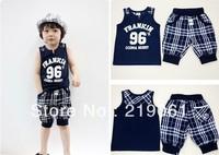 2014 new summer style  gentlenman boy stripe sets,boys set,vest+ shorts ,sports suit,BDT-199