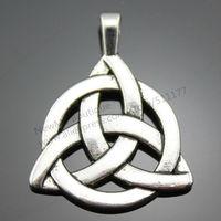 10pcs/lot 35*27mm 3 Colors Rhodium, Antique Bronze, Antique Silver Plated Triquetra Symbol Pendant