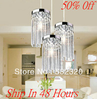 Guaranteed High Quality Free Shipping E14 Crystal Chandelier Modern Glass Lamp 3 Lights Romatic Pendant Lights For Restaurant