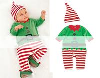 2014 New baby set baby boys 2pcs set striped full sleeve romper+hat suit christmas style kid's wear 100% 5 Stars
