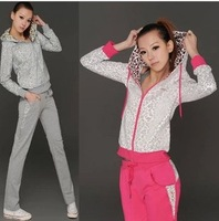 new female models sportswear suit leopard cotton hooded track suit