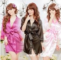 Sexy Lingerie Mike Silk Robe Dress+G String Set Sleepwear Costume Sexy Sleepwear,  Free ShippingF1341