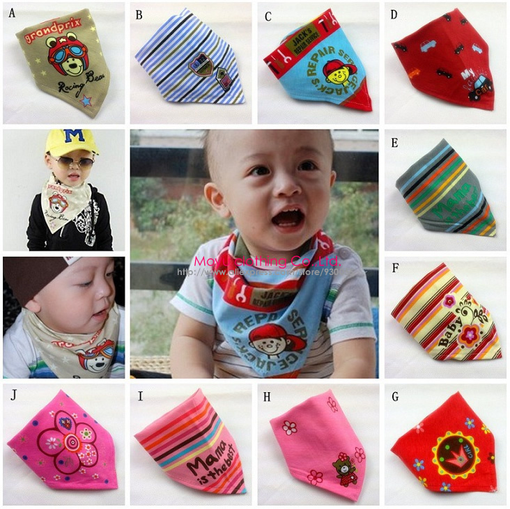 Free Shipping 5pcs Baby Girl Boy Kids Newborn Infant Toddler Burp Cloth Scarves Bandana Bibs Saliva Dribble Triangle Head Scarf(China (Mainland))