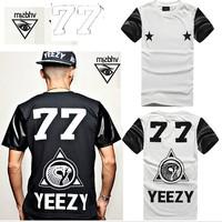 Hey men yeezy77 ists back white art digital short-sleeve T-shirt leather sleeve tshirts men pu sleeve fitness