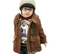 2014 winter boys wool winter coats british style duffle coat brown horn button baby boy wool coat EC-64 free shipping 3-8Years