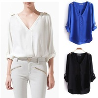 2012 Za Fashion Rivet Epaulette shoulder Chiffon V-neck Long-Sleeve women Shirts blouses,1014