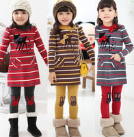 5sets/lot Spring & Autumn children fashion dress set clothing deer stripe kids long-sleeve dress and leggings suit baby girl set