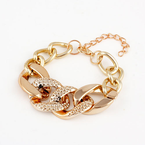 Wholesale Jewelry Fashion Cheap Gold Plated Alloy Chain Chunky Bracelets & Bangles Women Bracelet Free shipping(China (Mainland))
