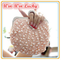 Hot Style Fashion Beaded Women's Handbag. Full Pearl Diamond Ring Bridal Satin Party Clutch Chain Shoulder Messenger Evening Bag