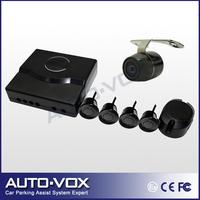 Rear View Camera with Car parking sensor reverse backup radar system 4 sensors Black