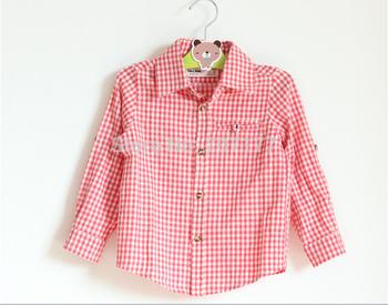 free shipping 2015 new design boy boys  Long sleeve shirt lattice red cotton soft  shirts