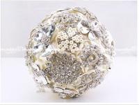 EMS Free Shipping Sparkling Crystal Brooch Bride Bouquet Holding Flower for Wedding Elegant Wedding Essential