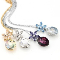 Free Shipping 2013 new NEOGLORY female Jewelry zircon flower pendant pendant Necklace made with SWA ELEMENTS crystal xgb8517