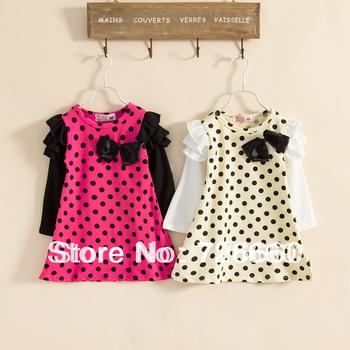 2014 fashion spring autumn girls baby kids toddler tutu dress cute dot long sleeve rose yellow color 100-140