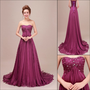 Elegant strapless formal evening dress diamond Tube Top Long plus size purple chiffon party dress designer Free Postage