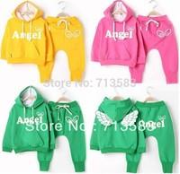 New style Baby boy/girl spring/autumn cotton clothing set(hoodies+pants) boy girl Angel wing tracksuit set ,1 set/lot