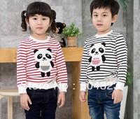 Free Shipping Hot 5pcs/lot Kids boys girls PANDA stripe t shirt hoodies kids baby girls cat hoodies kids long sleeve t shirt