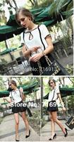 2014 New Women European ol Style Black White Contrast Color Short Sleeve Chiffon Blouse Top Shirt 17188