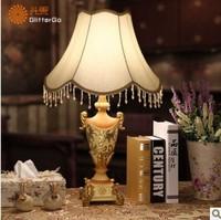 Luxury European-style retro table lamp bedroom lamp bedside lamp resin garden living room decorative lamp