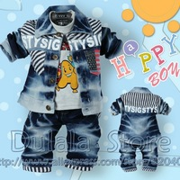 2013 Spring Models Ramp of the Denim Three-piece Suit old Baby Kids 3sets/lot Free Shipping