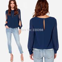 2014 New hot sale Women Blouse Spring Fashion Long Sleeve Tops Hollow Out Chiffon Blouse Plus Size S-XXXL Blusas Femininas