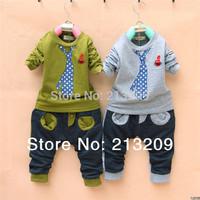 New 2014 autumn summer  Cotton Fashion Clothing set For Children Baby Boy Suit Fake Tie Set Long Sleeve Sport Suit set