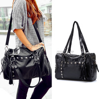 Womens Big Pu Leather Hobo Rivet Stud Tassel Shopper Tote Shoulder Bag Handbag Free Shipping