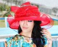 Free Shipping Women's Elegant Summer Hats Sinamay  Sinamay Hat Sinamay Organza Fabric Winter Hair Flower Accessories Top Hat