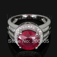 Jewelry Sets Vintage Round 9x9mm Solid 14kt White Gold Diamond Red Ruby Ring R00315