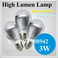 3W led bulb 220v silver, base E27 lamp Energy Saving Lamp /high quality space aluminum,warm/cool white,free shipping