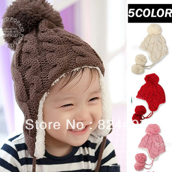 Hot Sales Winter 5 Color Children's ear cap / baby hat / Plus velvet thick warm hat/ Boys and girls hat Free Shipping M0284