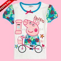 Free Shipping New Kid Girl Summer Peppa Pig Print Short Sleelve Children Girl Cartoon T-shirt 2-6Year