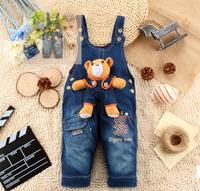 Free Shipping! 1-3Y 2013 Cartoon Bear Spring Children jeans fashion girl/boy denim overalls Autumn Kids Brace Trousers/Pants