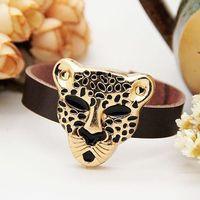 Min order is $15(mix order),fashion women & men's golden leopard head sweet color cow leather bracelet, 2013 fashion cool bangle