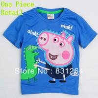 Free Shipping 2015 New Kid Boy Summer Peppa Pig Print Boy T-Shirt Children Boy Cartoon T-shirt 2-6Year