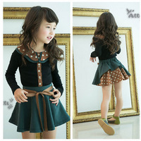 Wholesale,Hot 2013 Girls Cute Korean version skirt suit,kids autumn dot print princes set,College style 2pcs tops+skirt