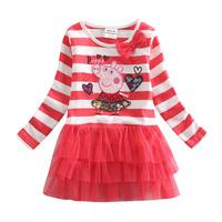 Peppa pig baby girl casual 95% cotton dress children clothing girls party evening tutu dresses kids lace tutu dresses H4211