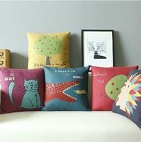 Memories of Childhood Animal Combination Linen Cotton Ikea Pillow Case Decorate Sofa Cushion Cover 5pcs 45 * 45cm Wholesale