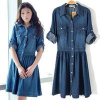 New 2014 autumn Fashion  Women Dress Ladies' Blue Denim Dress Slim Women's Vintage Vestidos Jeans Casual Dress Plus Size S-XXXL