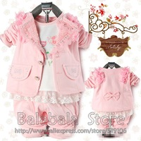 Free shipping wholesale fashion new gift children Baby Kid's Girl's Clothing Set 3Set/lot  Jacket +T-shirt+Pants