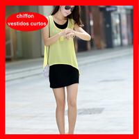 2014 Hot Selling Summer Chiffon Elegant Dress , Plus Size Sleeveless Chiffon Short Dresses 3 Colors 286