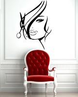 Free Shipping Hot Sexy Girl Hair Spa Beauty Salon Wall Art Sticker Decal DIY Home Decoration Wall Mural Removable Stickers 56x89