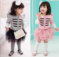 2014 baby girl  jacket coat+tutu skirt 2pcs set children clothing sets girls spring clothing kids clothes suits
